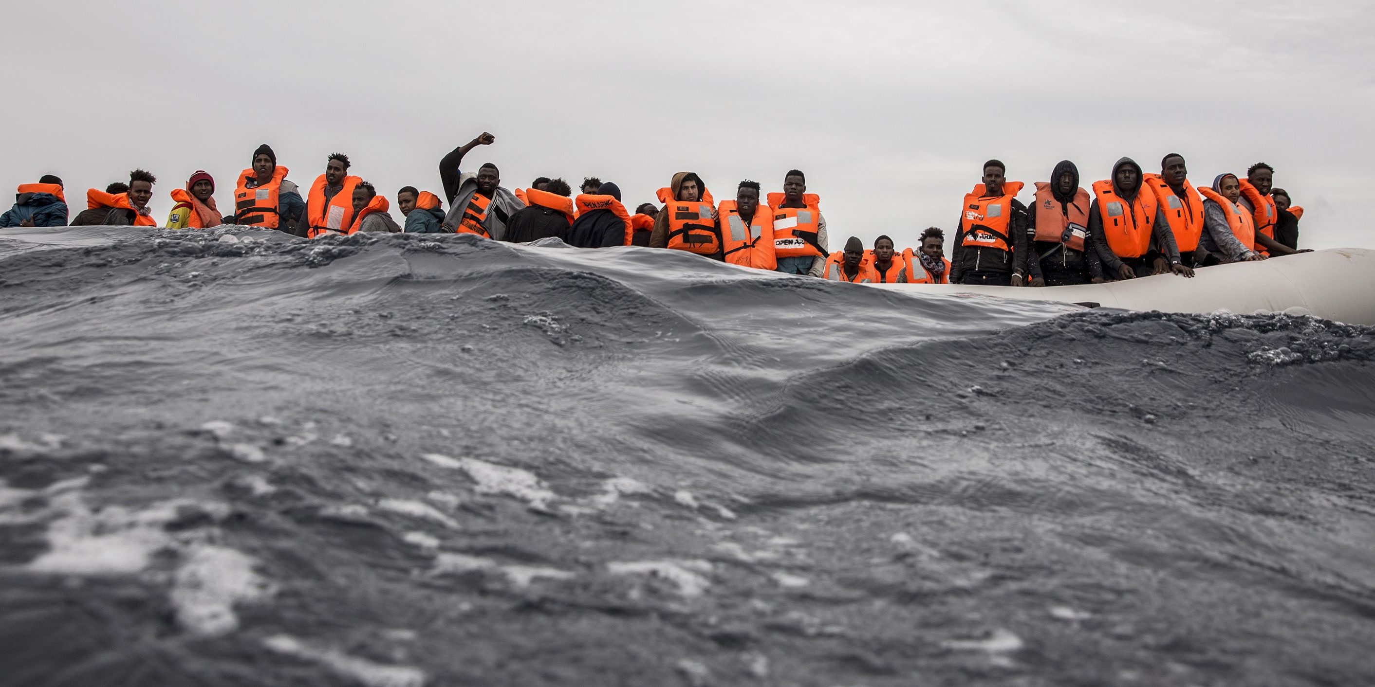101 persons in a rubber boat was rescued by Proactiva Open Arms ONG in the Mediterranean Sea, 60 miles from Al-Khums, Libya.  In the rubber boat was people from Somalia, Nigeria, Mali, Guinea Conakry, Sudan, Ivory Coast, Niger, Camerun, Libya, Egipt and Yemen.  18 february 2018.  Photo: Olmo Calvo